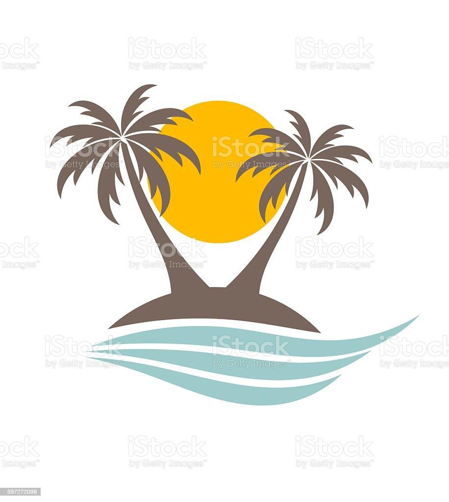 Palm trees silhouette on the island Lizenzfreies palm trees silhouette on the island stock vektor art und mehr bilder von baum