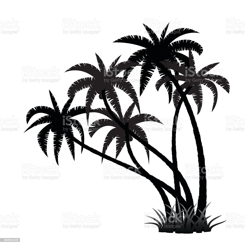 palm trees silhouette stock vector art more images of 2015 rh istockphoto com  vector palm tree silhouette free