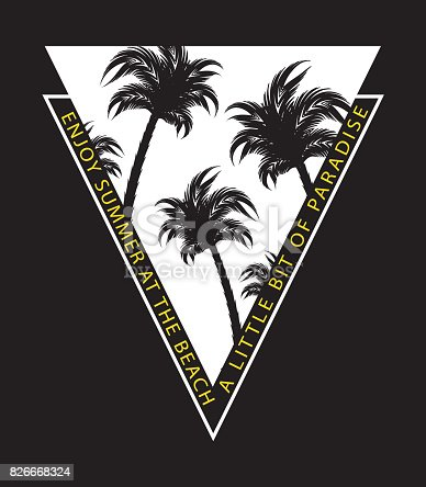 95daa540e11 Palm Trees Summer Vacation Beach Surf Concept Tshirt Graphic Vector Print  Design Stock Vector Art   More Images of Arts Culture and Entertainment