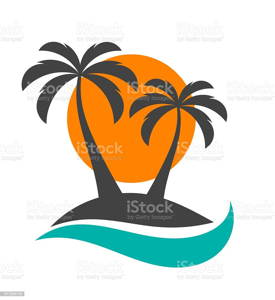 Palm trees, sun and ocean vector art illustration