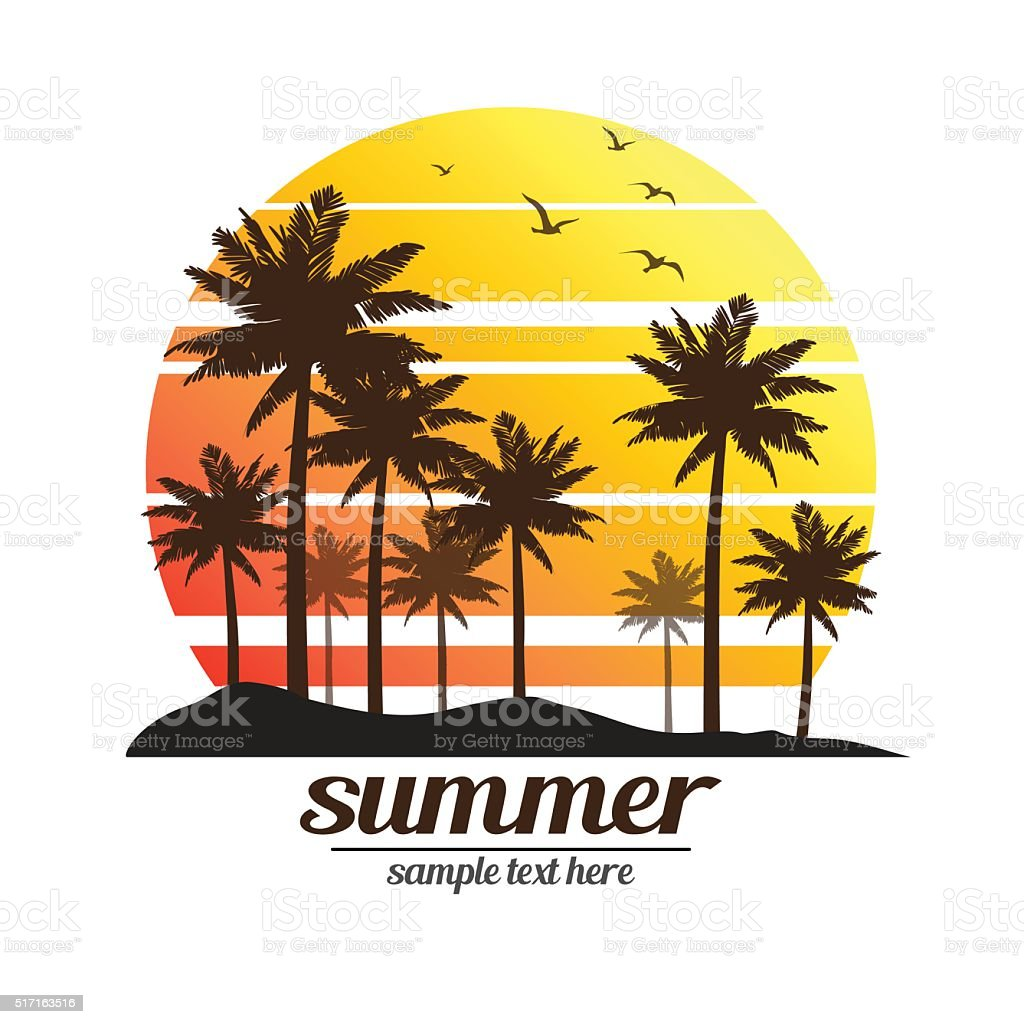 Palm trees sunset vector art illustration