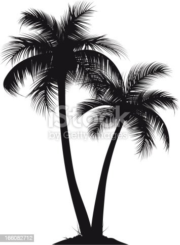 two vector Silhouette of palm trees. smart layers and elements, each tree is seperate, easy to change the arrangement