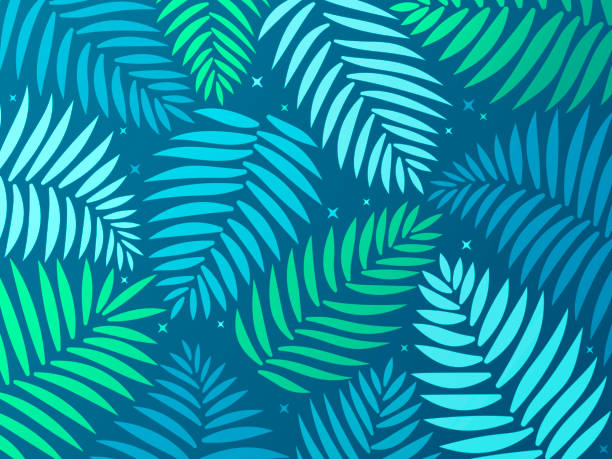 Palm Tropical Background Palm frond or fern tropical background. hawaiian culture stock illustrations