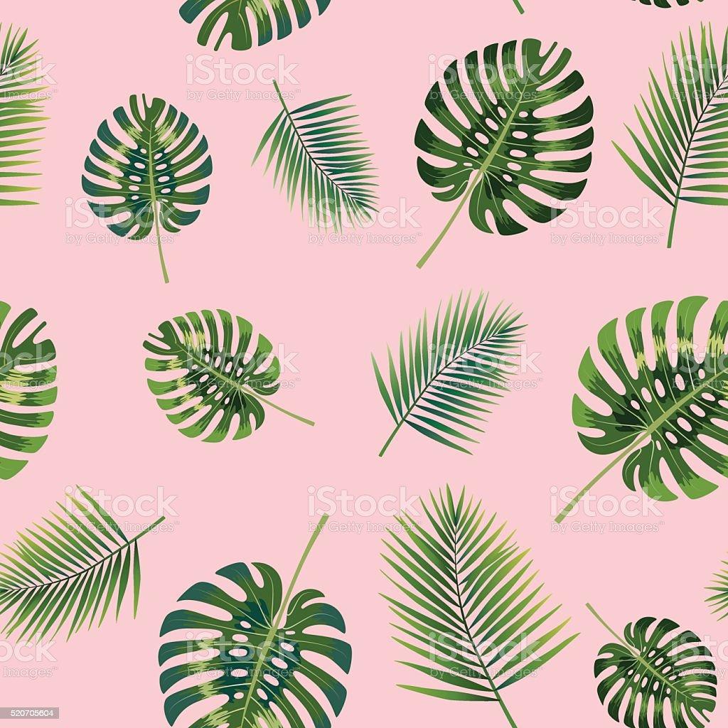 Tropical de palmeras deja patrón continuo. - ilustración de arte vectorial