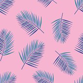 Palm Tropical leaves seamless pattern.