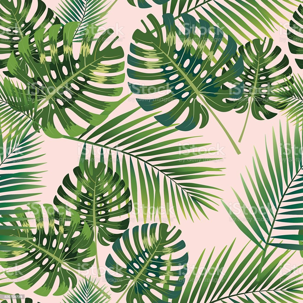 Tropical de palmeras deja patrón continuo. Ilustración de vectores. - ilustración de arte vectorial