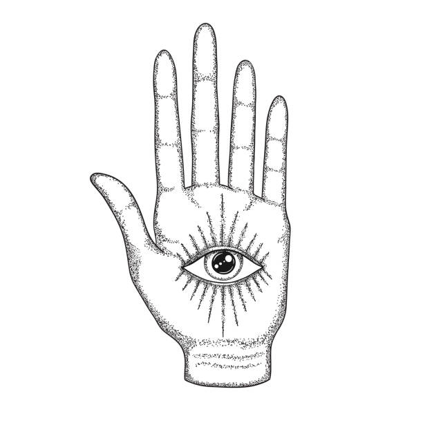 palm with the eye of providence. masonic symbol. all seeing eye with divergent rays on palm. black tattoo. a symbol of the occult, magic, astrology, religion, spiritualism. - третье око stock illustrations
