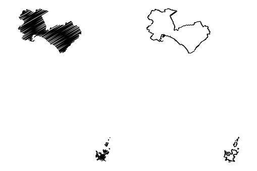 Palma de Mallorca City (Kingdom of Spain, Balearic Islands) map vector illustration, scribble sketch City of Palma map