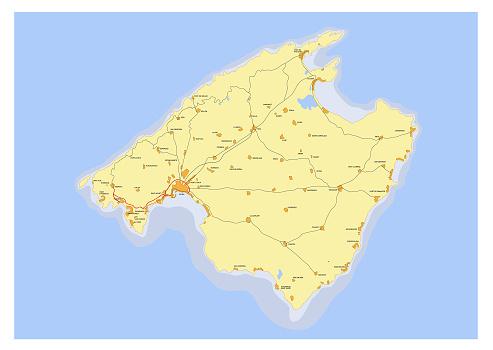 Palma de Mallorca island map with roads, Spain. Balearic Islands. Detailed vector illustration.