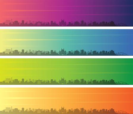 Palma de Mallorca Multiple Color Gradient Skyline Banner