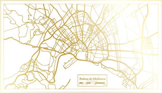 Palma de Mallorca Spain City Map in Retro Style in Golden Color. Outline Map.