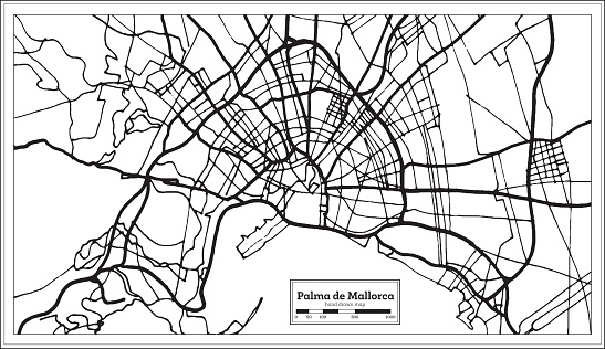 Palma de Mallorca Spain City Map in Retro Style. Outline Map.
