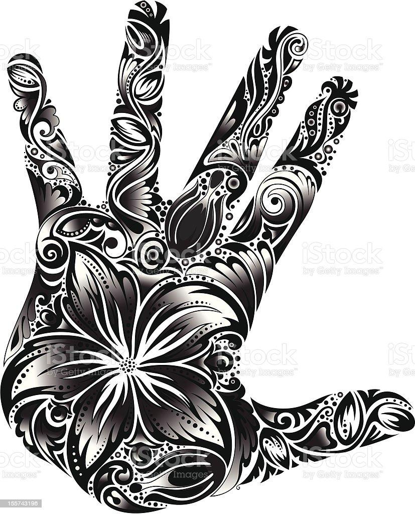 Palm-flower B&W royalty-free stock vector art