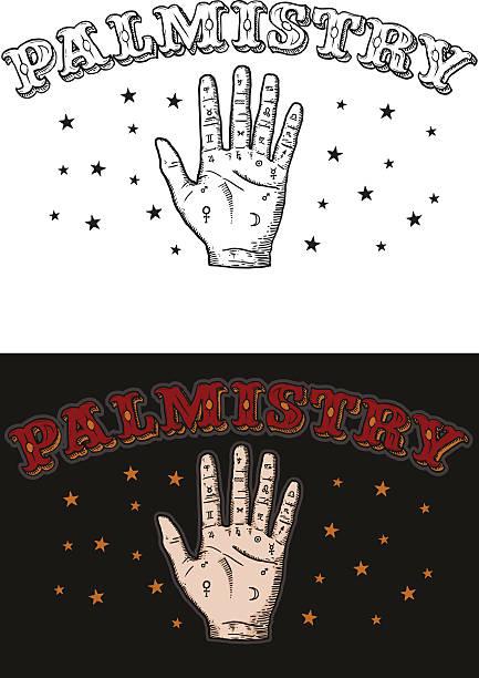 stockillustraties, clipart, cartoons en iconen met palmistry - handpalm