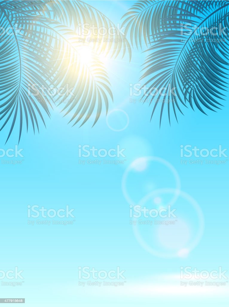 Palms and sun on blue background vector art illustration