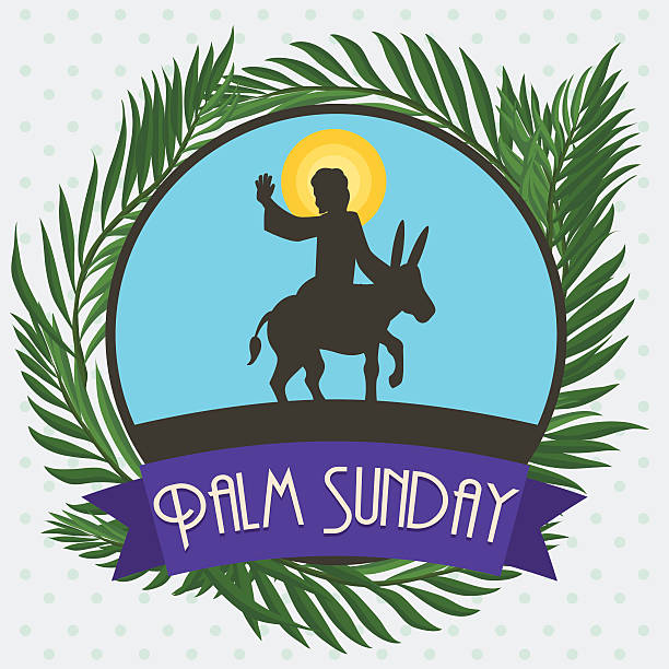 palms around circle with jesus in donkey for palm sunday - palm sunday stock illustrations, clip art, cartoons, & icons