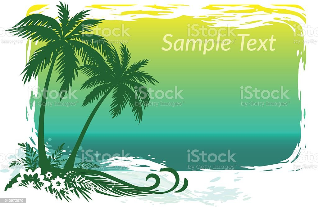 Palms, Flowers and Sea Landscape vector art illustration