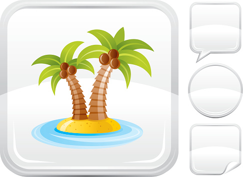 Palms island icon on silver button