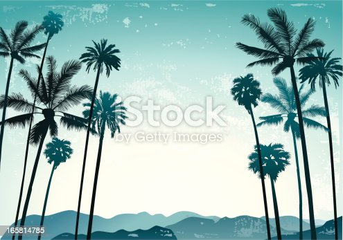Retro grange palm trees on a sky and mountains background.