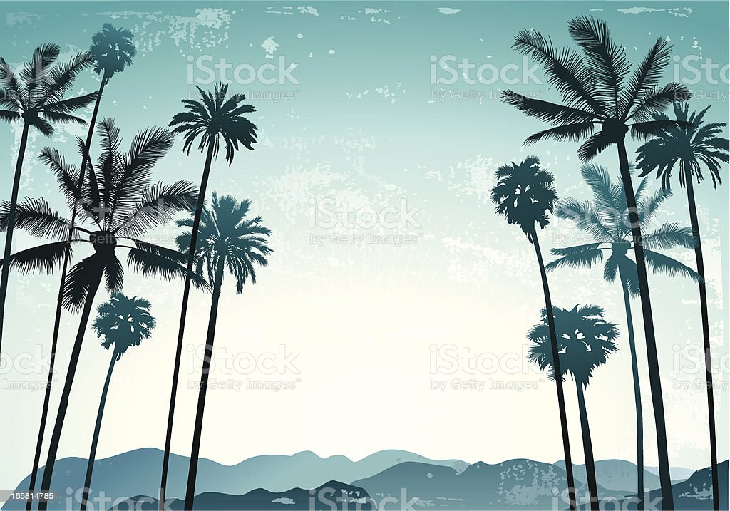 Palms landscape vector art illustration