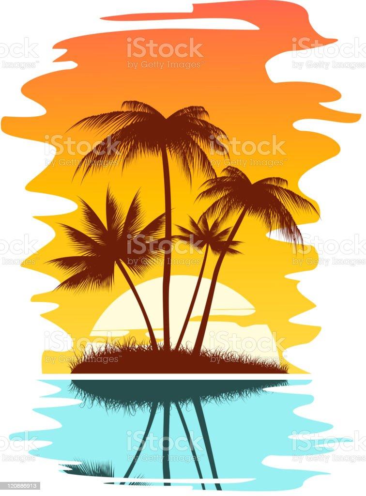 Palms on sunset vector art illustration