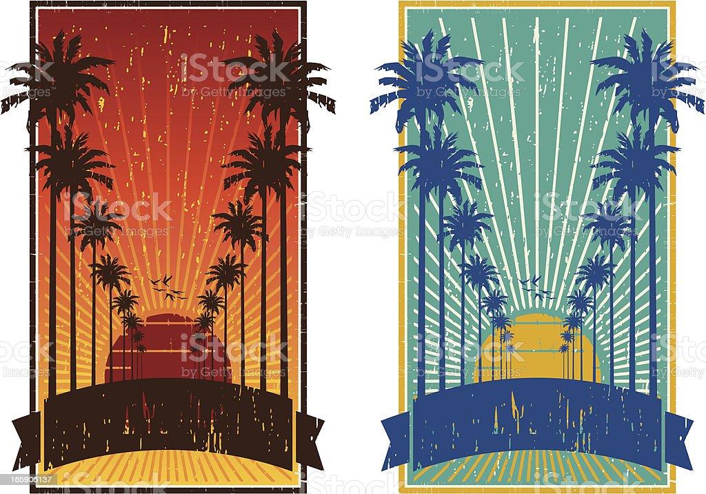 palms trees frame royalty-free stock vector art