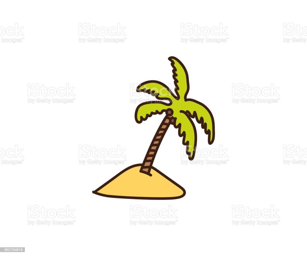 Palmeabbildung Vektor Hand Gezeichnete Doodle Einer Tropischen Palme ...
