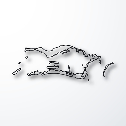 Palmyra Atoll map - Black outline with shadow on white background