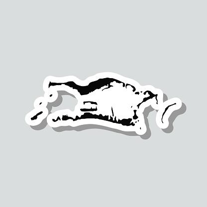 Palmyra Atoll map sticker on gray background