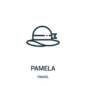 istock pamela icon vector from travel collection. Thin line pamela outline icon vector illustration. Linear symbol for use on web and mobile apps, logo, print media. 1142697453