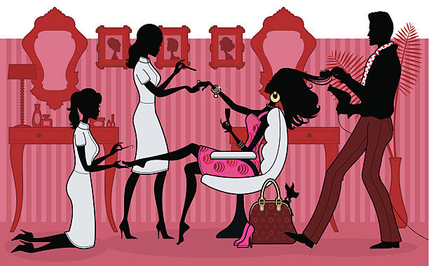 pampered princess - beauty salon stock illustrations, clip art, cartoons, & icons