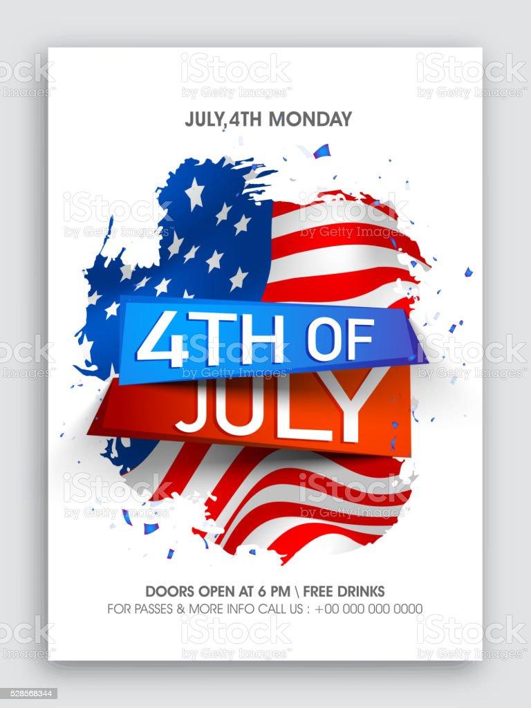 Pamphlet, Banner or Flyer for 4th of July. vector art illustration