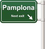 Pamplona next exit green signal vector