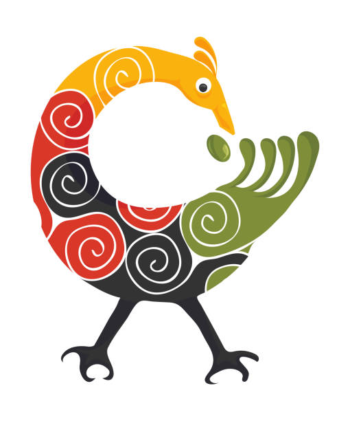 stockillustraties, clipart, cartoons en iconen met pan-afrikaanse kleuren adinkra symbool sankofa vogel geïsoleerd. adinkra folk art imitatie vector illustratie. - afrikaanse vogel