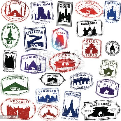 Series of Passport Style Stamps of Asian countries and locations
