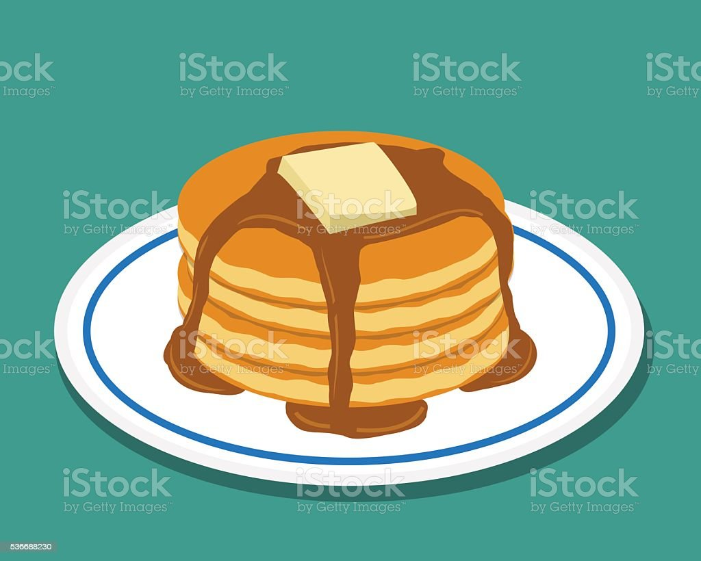 Pan cake in flat style, isolated vector vector art illustration