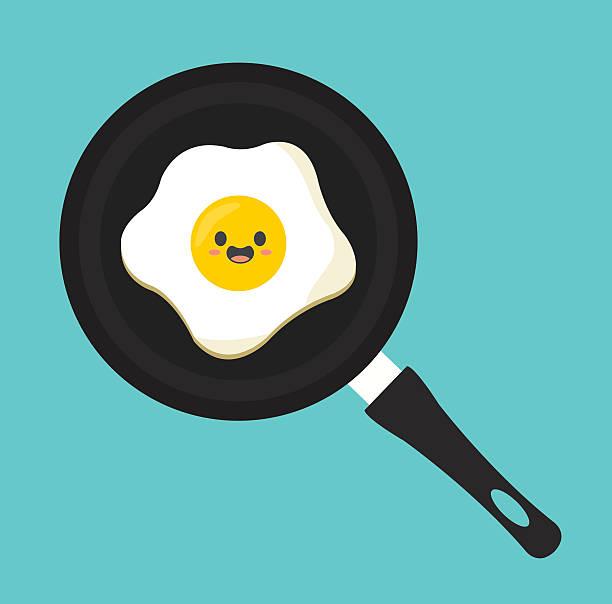 bildbanksillustrationer, clip art samt tecknat material och ikoner med pan egg kawaii cartoon cute flat - frying pan