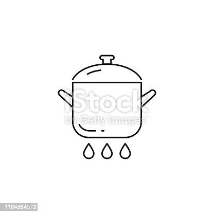 istock Pan on fire vector icon outline style 1164864573