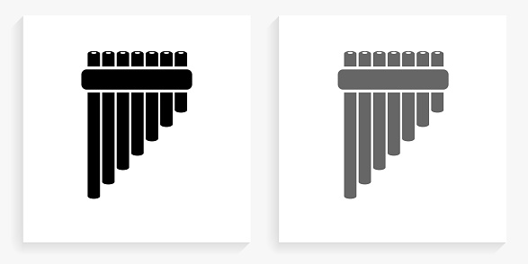 Pan Pipes Black and White Square Icon. This 100% royalty free vector illustration is featuring the square button with a drop shadow and the main icon is depicted in black and in grey for a roll-over effect.