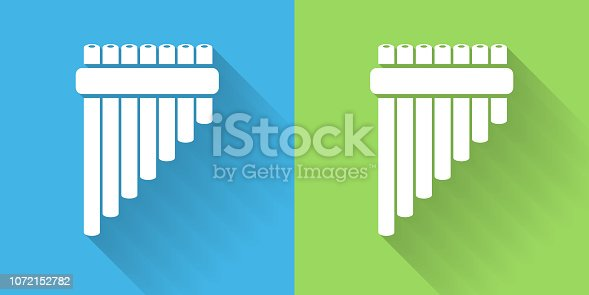 Pan Pipes Icon with Long Shadow. The icon is on Blue Green Background with Long Shadow. There are two background color variations included in this file. The icon is rendered in white color and the background is blue or green. There is also a 45 degree long shadow.