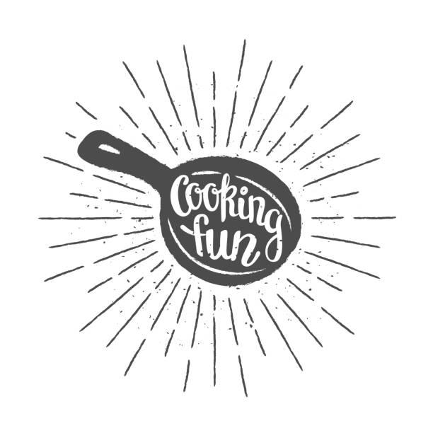 bildbanksillustrationer, clip art samt tecknat material och ikoner med panorera veteolja med bokstäver - matlagning roligt- och vintage solens strålar. - frying pan