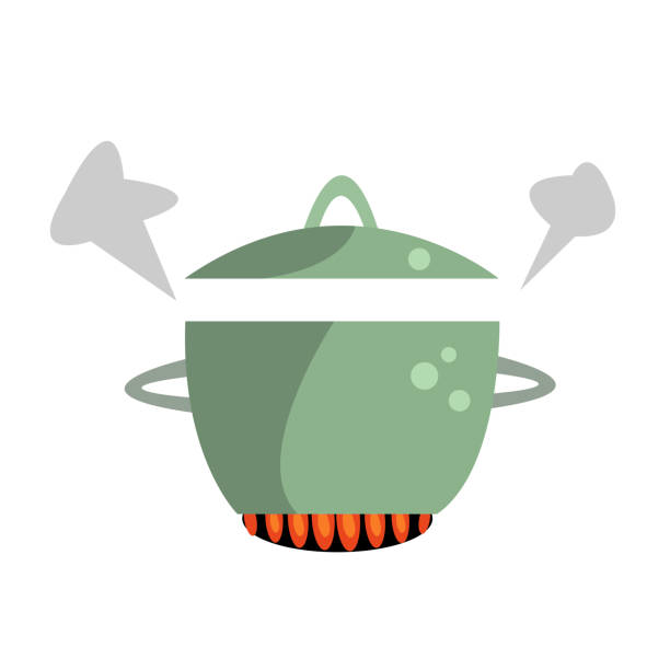 pan with open lid and steaming steam is on fire vector art illustration