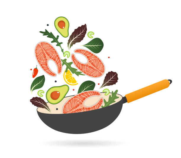Pan with salmon steak, avocado, tomatoes and lettuce. Top view. Creative design for breakfast menu, cafe, restaurant. Vector illustration. Pan with salmon steak, avocado, tomatoes and lettuce. Top view. Creative design for breakfast menu, cafe, restaurant. Vector illustration avocado clipart stock illustrations