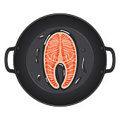 Pan with salmon steak. Top view. Creative design for breakfast menu, cafe, restaurant. Vector illustration.