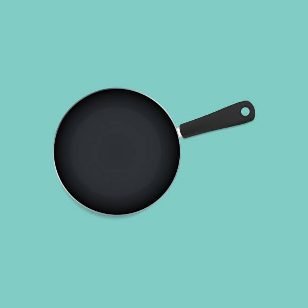 Pan with shadow Pan with shadow isolated on blue back frying pan stock illustrations