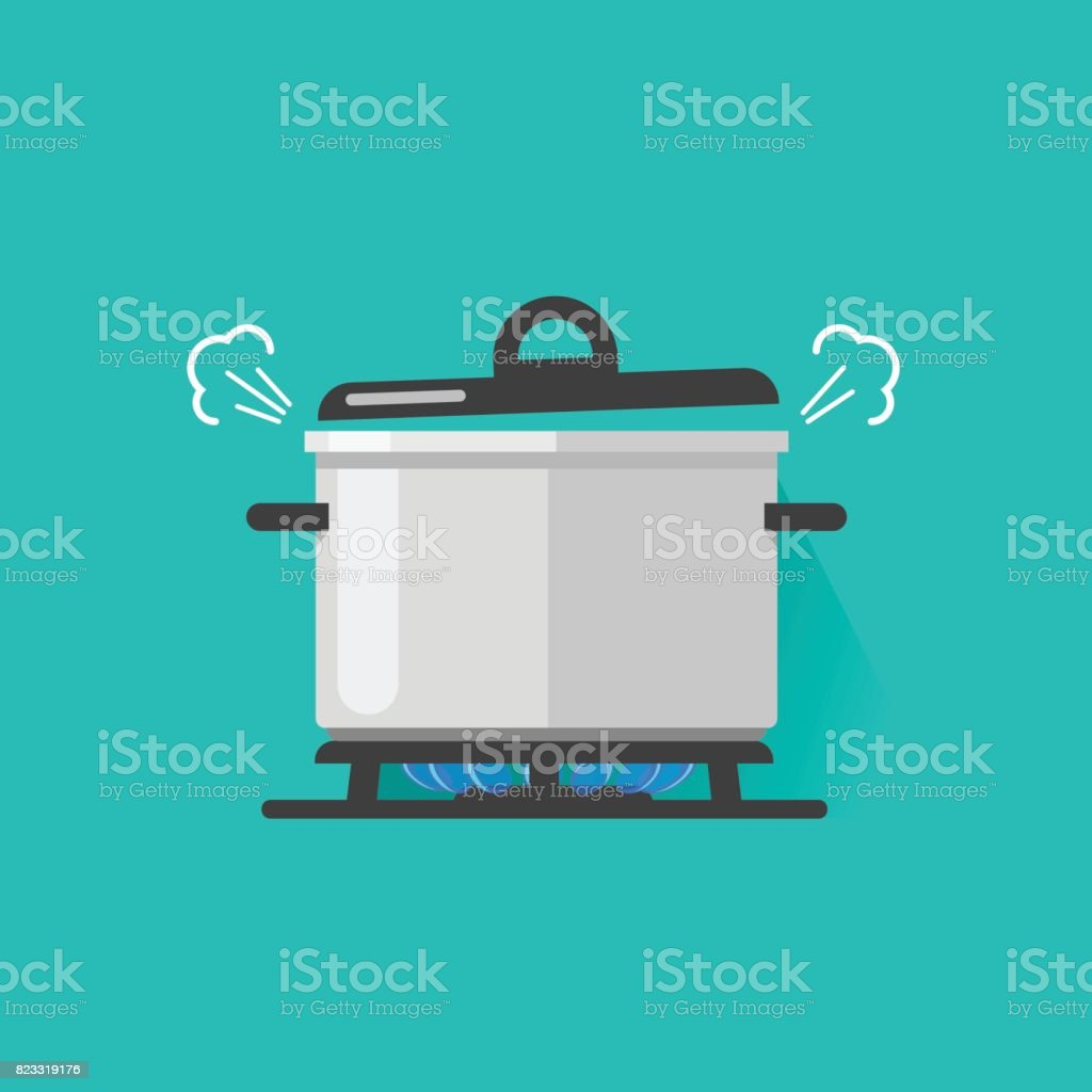 Pan with steam on gas stove fire cooking some boiling food vector illustration isolated, flat cartoon saucepan and kitchen stove vector art illustration
