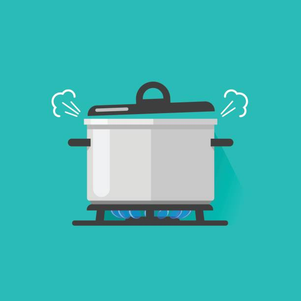 Pan with steam on gas stove fire cooking some boiling food vector illustration isolated, flat cartoon saucepan and kitchen stove Pan with steam on gas stove fire cooking some boiling food vector illustration isolated, flat cartoon saucepan on kitchen stove stove stock illustrations
