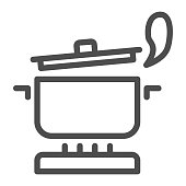 Pan with steam on the gas stove line icon, Cooking concept, Saucepan on fire sign on white background, boiling pot icon in outline style for mobile concept and web design. Vector graphics