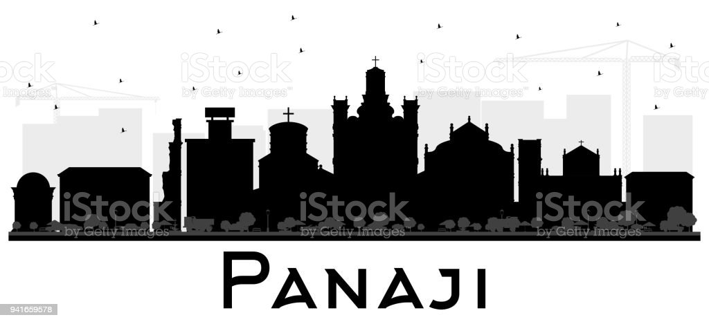 Panaji India City Skyline Silhouette with Black Buildings Isolated on White. - Illustration...