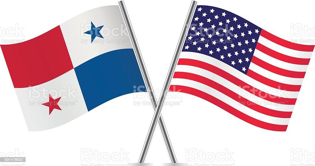 Panama And American Flags Vector Stock Vector Art IStock - Panama flags
